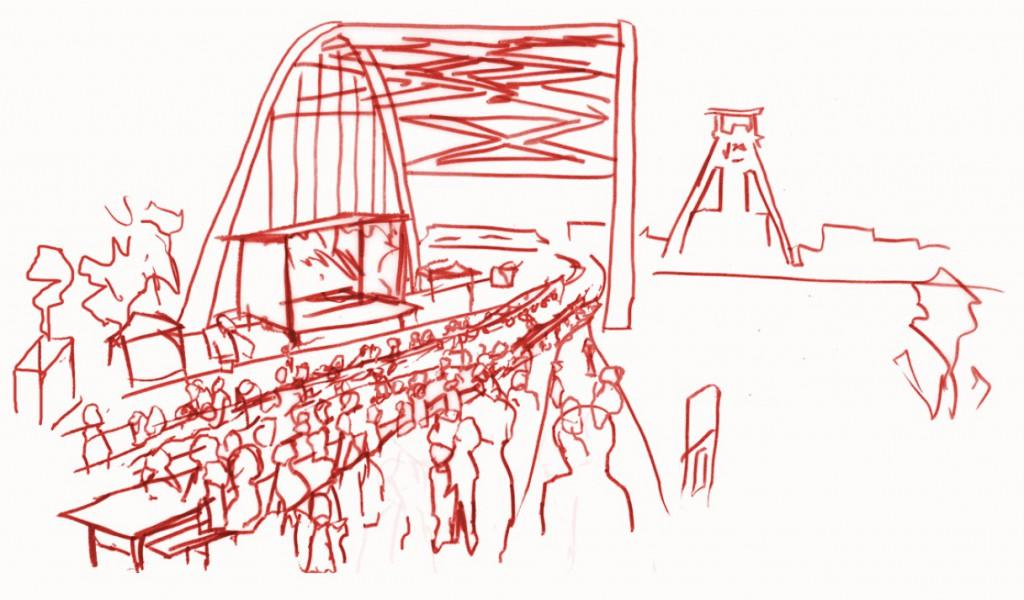 Skizze mit Infoständen, Tischen, Bürgerfrühstück und der Bühne